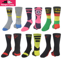 American Captain Superman Batman Hip Hop Basketball Socks Men Cotton Towel Bottom Cartoon Socks Skateboard