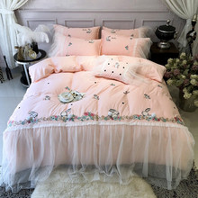 New Pink Rabbit Embroidery 60S Egyptian Cotton Princess Girl Bedding Set Lace Duvet Cover Bed sheet Linen Pillowcases 4/5pcs