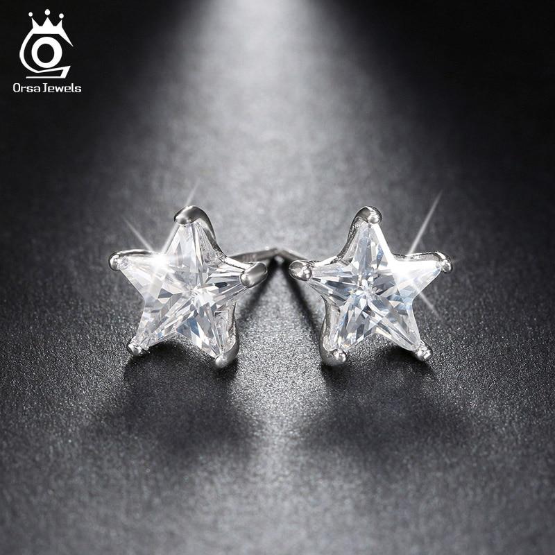Orsa jewels reine 925 sterling silber ohrringe 0.8ct kubikzircon sterne ohrstecker für frauen hochzeit party 2019 neue schmuck se02
