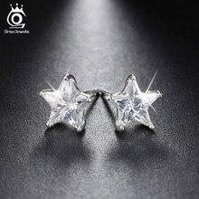 Orsa Драгоценности чистой 925 серебро серьги 0.8ct кубический циркон Звезда Стад Серьги для женщин Свадебная вечеринка Новинка 2017 года Jewelry SE02