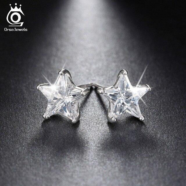ORSA JEWELS Pure 925 Sterling Silver Earrings 0.8ct Cubic Zircon Star Stud Earring for Women Wedding Party 2017 New Jewelry SE02