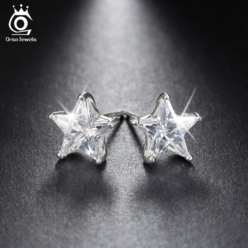 Pure 925 Sterling Silver Rhodium Plated 0.8ct Crystal Star Ss