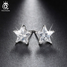 Pure 925 Sterling Silver Rhodium Plated 0.8ct Crystal Star Stud Earring for Women Wedding Party 2016 New Jewelry SE02