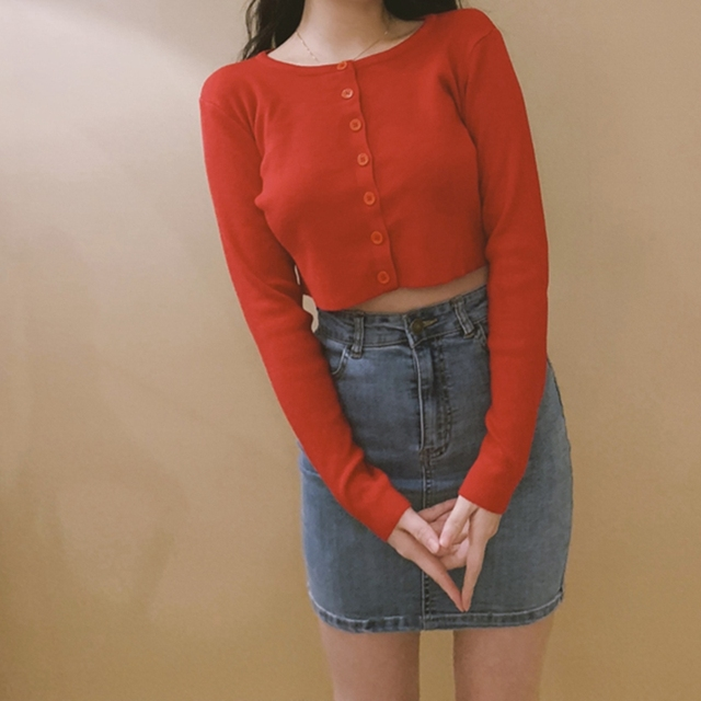 Knitted Button Up Korean Cute Sweaters Cropped Cardigan