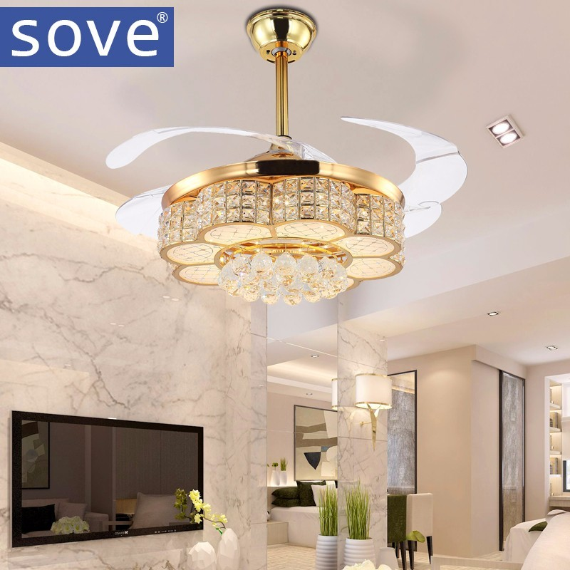 sove 42 Inch Modern LED Crystal <font><b>Ceiling</b></font> Light Fan Living Room Bedroom Invisible <font><b>Ceiling</b></font> Fans With Lights Remote Control 220v