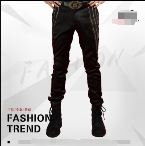Outfit Performance-Pants Male Singer Stylist Slim Nightclub Casual Fashion Pants. Hipster