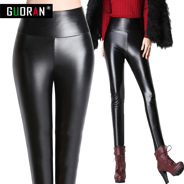 e407ec3bff5 Women Faux Leather Pants Plus size 4xl Stretch Bandage Waist Black Sexy  Capris Ladies Legging Spring Autumn Winter pencil Pants