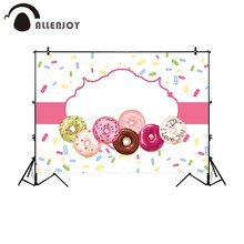 Allenjoy backdrop photophones doughnut pink frame colors chocolate candy bar custom text dessert table wall-paper background(China)