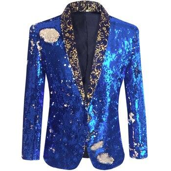 Men Sequins Jackets Glittering Paillette Blazers Coat Nightclub Singer Vocal Concert Stage Dance Costume Host Show Wedding Party