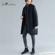 BelineRosa Women's Autumn Winter Clothes Loose Style Casual Simple Lightweight Cotton Black Coats for Women BSDM0267 simple style sleevelessu neck loose fitting black dress for women