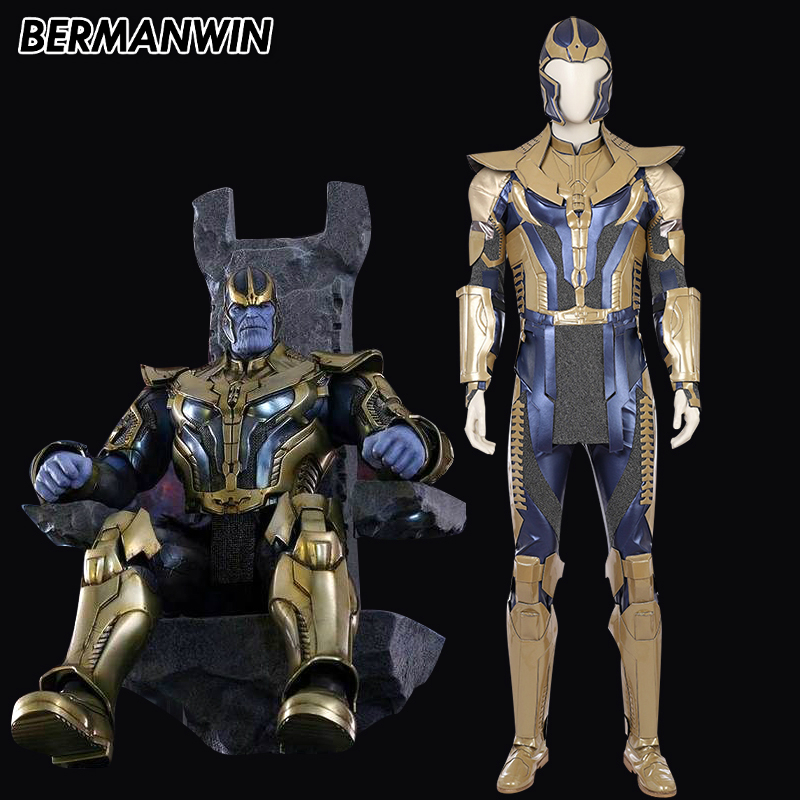 BERMANWIN High Quality 2018 New Movie Avengers Infinity War Cosplay Costume Men Thanos Cosplay Costume Halloween Thanos Outfit