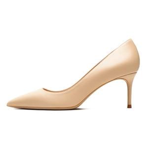 Image 3 - KATELVADI גבירותיי נעליים בז פיצול עור 6.5CM גבוהה עקב משאבות נשים נעלי Sapato Feminino הנעלה גודל 34 42 K 324