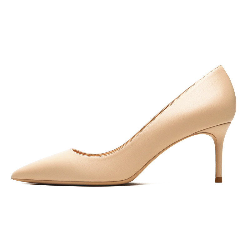 Image 2 - KATELVADI Ladies Shoes Beige Split Leather 6.5CM High Heel Pumps Women Shoes Sapato Feminino Footwear Size 34 42 K 324-in Women's Pumps from Shoes