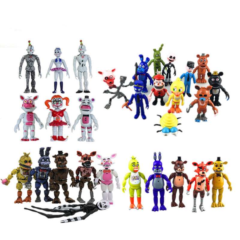 New Led Light Five Nights At Freddy's 9-12cm FNAF 4/5/6/11/12 Pcs Action Figures Fazbear Foxy PVC Figure Dolls Toys for Children часы gardman country кремовые