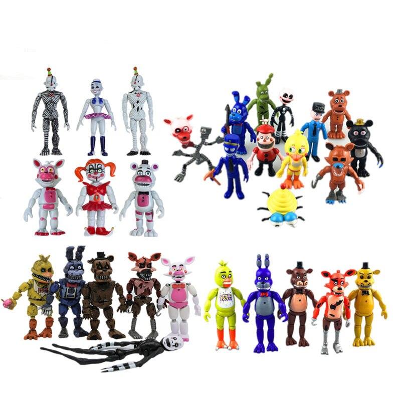 Nueva Luz Led cinco noches en Freddy 9-12 cm FNAF 4/5/6/11 /12 piezas figuras de acción Fazbear Foxy PVC figura muñecas juguetes para niños