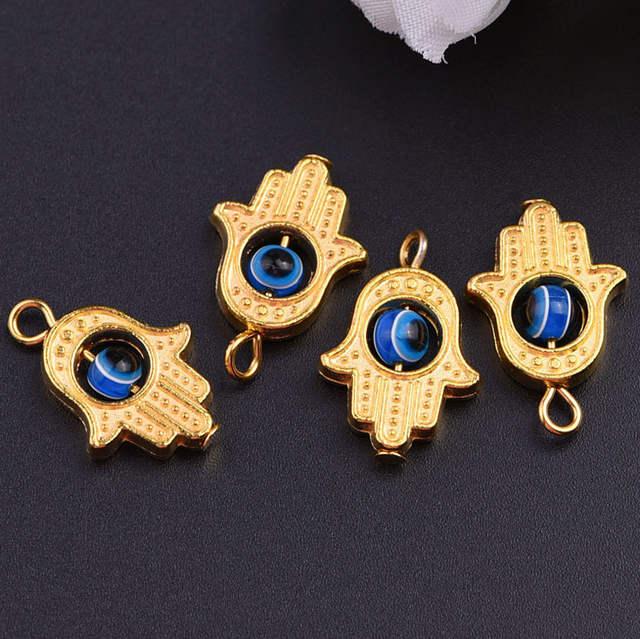 DIY lot of 10 Gold HAMSA HAND Evil Eye Lucky Charm Pendant Kabbalah Jewelry