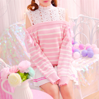 Pink, Navy blue Striped Off shoulder Dobby Lace Knitted Tops Lace up Soft sister Mori girl Sweet Cute 2017 Autumn Women Sweater