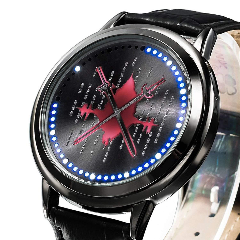Anime SAO Sword Art Online Kirito Asuna Led Watch Waterproof Touch Screen Digital Light Watch Wristwatch