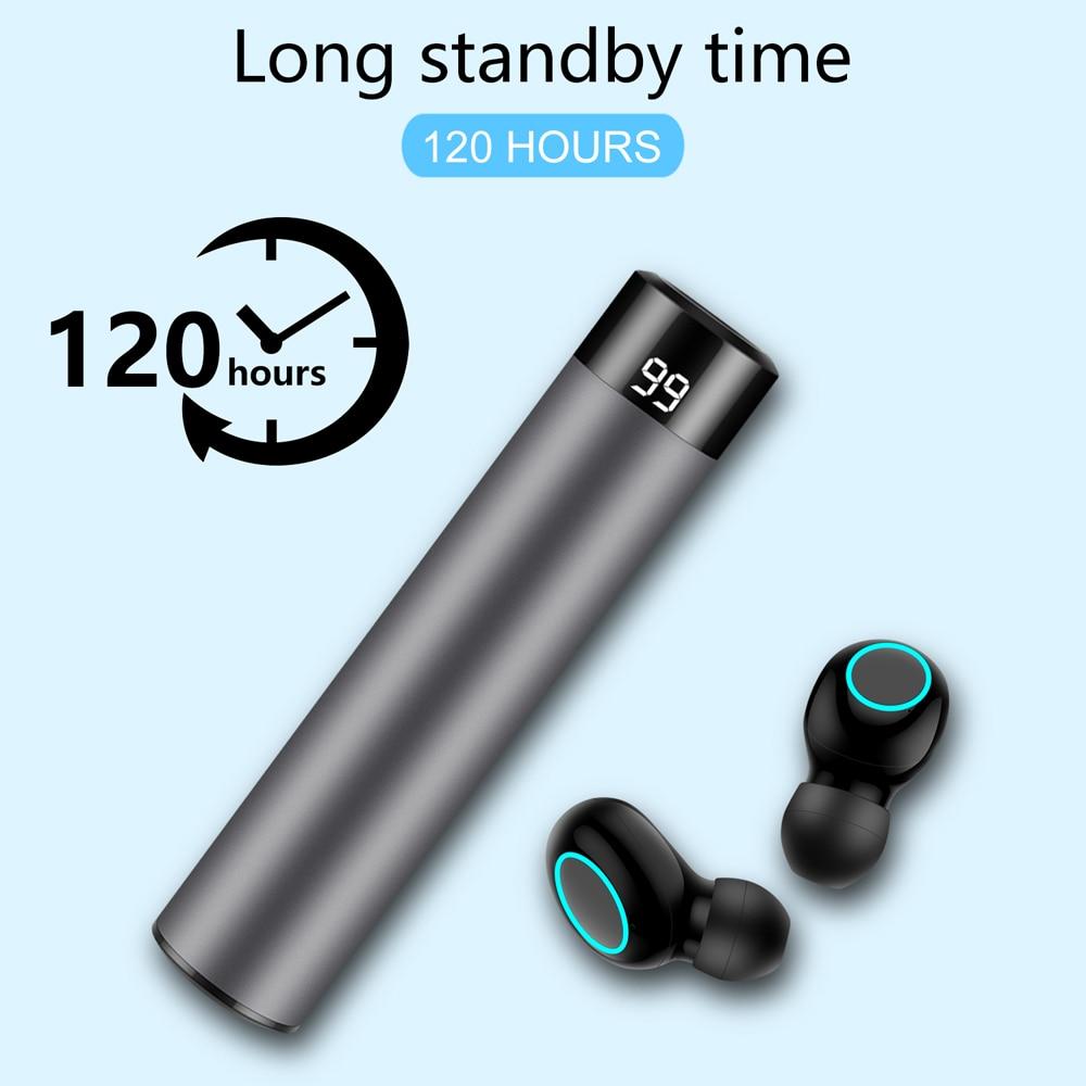 True Wireless Bluetooth 5.0 Earbuds TWS IPX5 Wireless Headphones Waterproof Touch Bluetooth Sport Earphone Power Bank 1500mAh