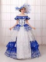 2016 New Arrival European Court Dress Halloween Costume Renaissance Medieval Mythic Fancy Dress Court Queen Cosplay
