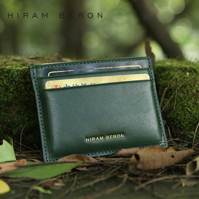 Hiram Beron Men Leather Card Holder Customized Vegetable Tanned Leather Green Genuine Leather Minimalist Wallet Card ID Holders