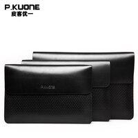 P.KUONE Genuine Leather Clutch Bag 2018 Fashion high quality Top men Wallets Luxury Brand Purse Messenger handbag Long wallet