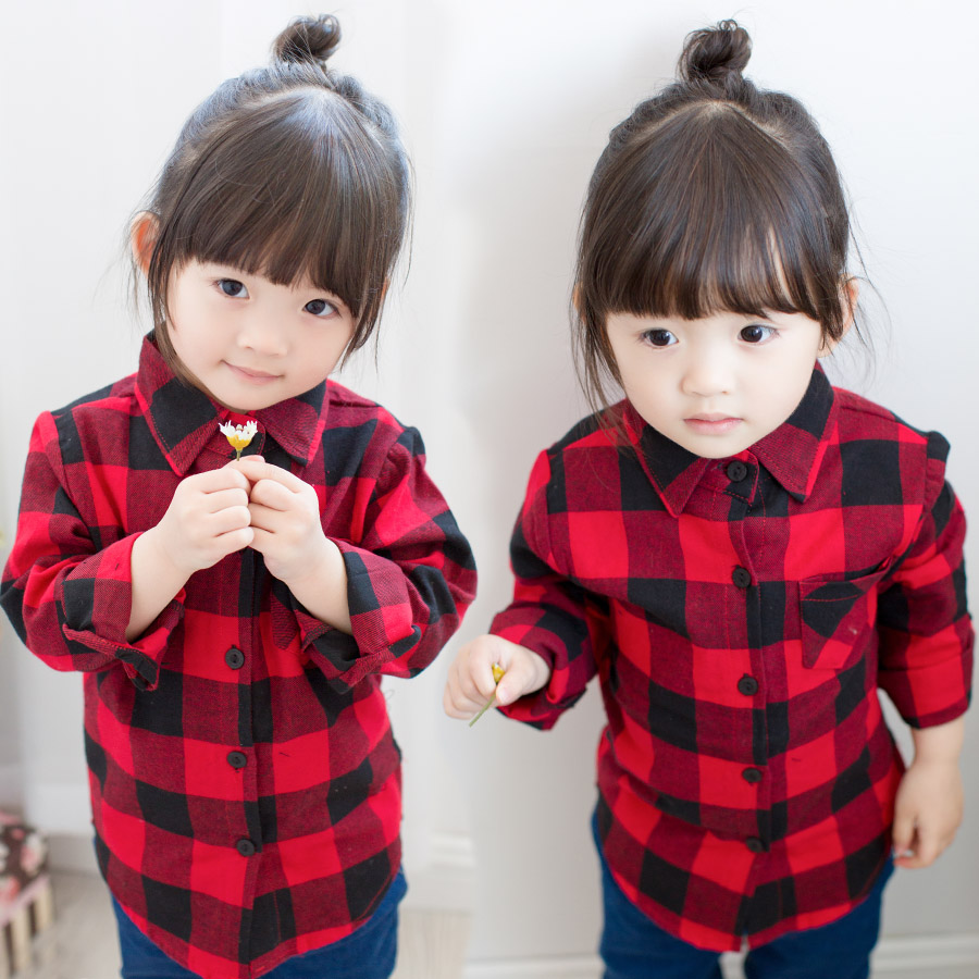 Acircle Little Big Boys Girls Long Sleeve Button Down Plaid Flannel Shirt