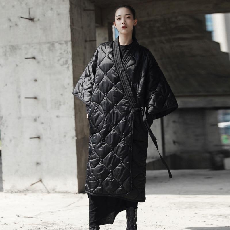 Moda pas luźne Plus Size Parka Feminina Streetwear fajne Slim czarny ubrania kurtka, damskie, kieszeń, z długim bawełna płaszcz zimowy A485 w Parki od Odzież damska na  Grupa 2