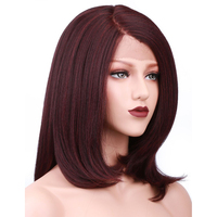 COLODO Layered Italian Yaki Straight Wig Heat Resistant 99J Short Bob Synthetic Lace Front Wigs For