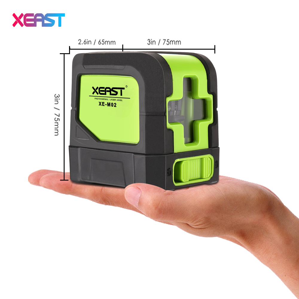 Hot XEAST MINI XE-M02 2 lines Red Laser Level  Self Leveling Cross Laser Line portable Red laser level Free shipping infrared laser marking instrument leveling line laser leveling instrument red line 2 standard red