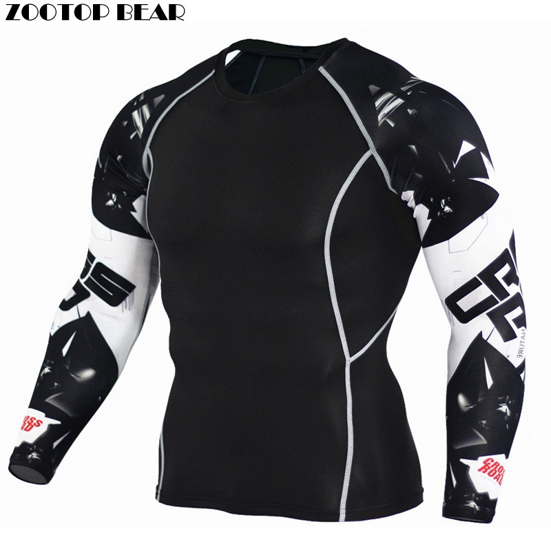 Crossfit Clothing Men Compression Tights Shirts Fitness Bodybuilding MMA Tops Tees Male Workout Costume 2017 New ZOOTOP BEAR