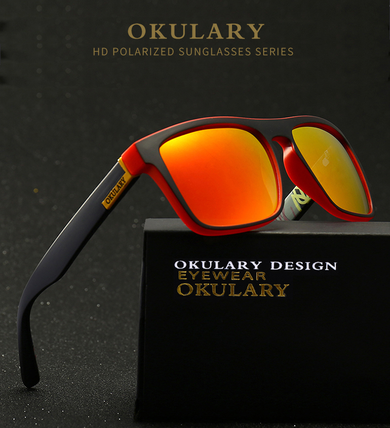 OKULARY Polarized Sunglasses Men Women Reflective Coating Square Sun Glasses UV400 Driving Fishing Sport Eyewear Without Case
