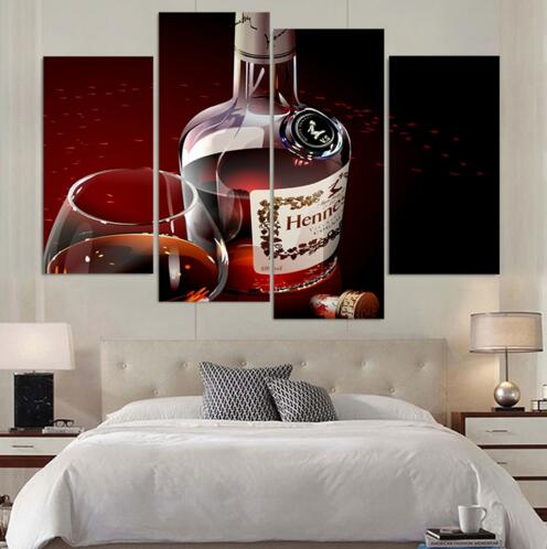 Canvas Painting 4 Piece Canvas Art Hennessy Cognac Luxury Alcohol HD Printed Home Decor Poster Picture for Living Room no frame