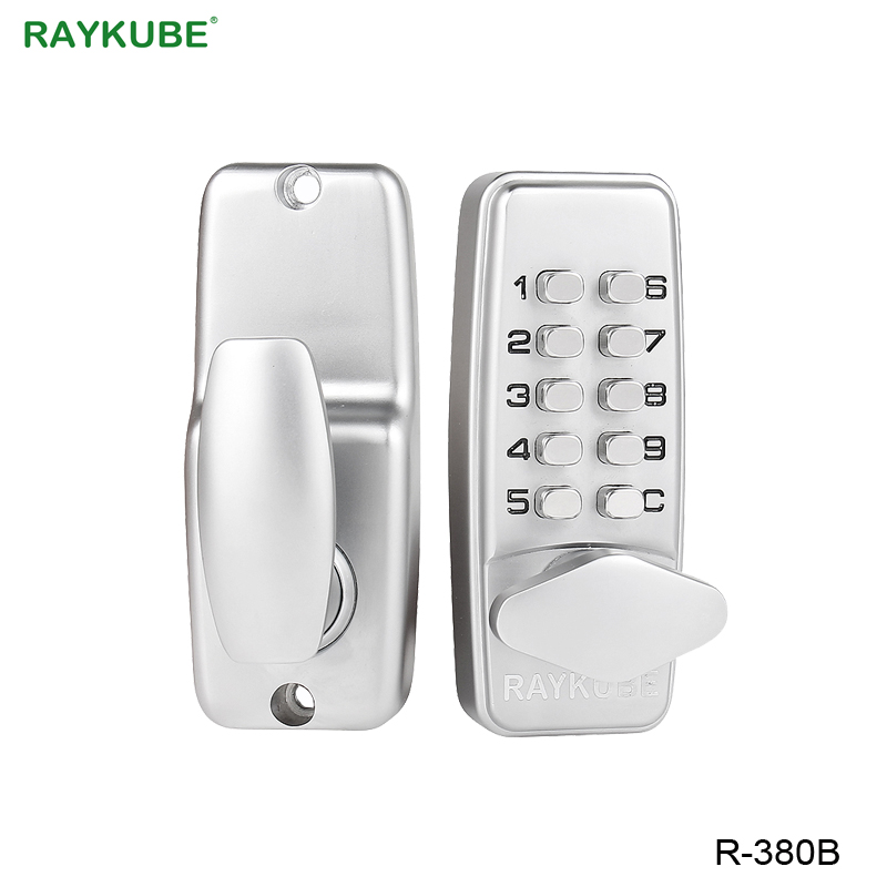 RAYKUBE Digital Password Door Lock Mechanical Code Keyless Entry Door Lock Waterproof R-380B 380b mechanical keyless digital keypad code locker home entrance safety lock stainless steel material 35 50mm door thickness