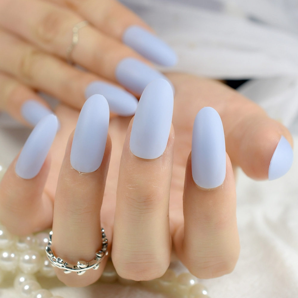 24pcs Long Matte Nail Tips Oval Sky Blue Candy Color Artificial Pre Designed Nails Kit Makeup Manicure With Glue Sticker Z795 In False From Beauty