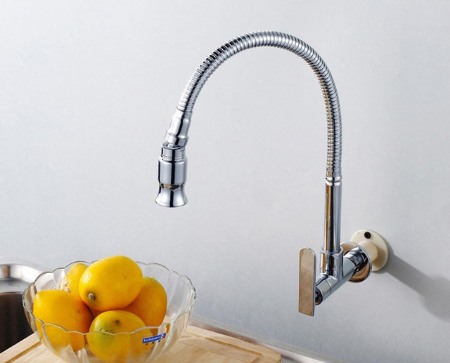 In Wall Mounted Kitchen Faucet Brass Cold Water Kitchen Sink Faucet Tap  With Flexible Spout Free