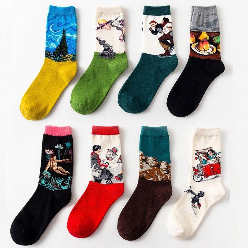 Autumn Winter New 3D Retro Personality Art Socks Unisex Men And Women Novelty Funny Starry Night Socks Warm Socks