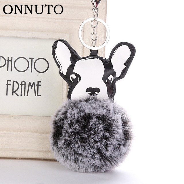 Fluffy Faux Fur Bola Pompom Keychain Chaveiro de Couro Pu Animal Cão Buldogue Francês Chaveiro Saco Titular Charme Bugiganga