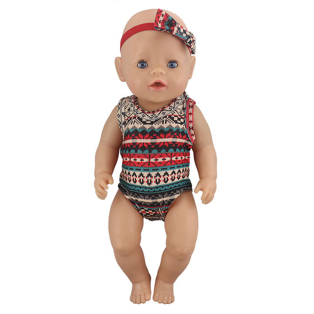 1pcs Fashion Swim Suit Fit For Baby Reborn Dolls 43cm Doll Clothes 5
