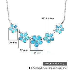 Image 3 - די סינטטי כחול אש אופל פרח בצורת סטרלינג 925 כסף שרשרת