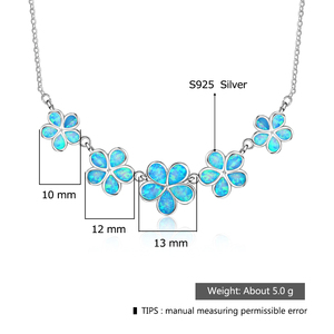 Image 3 - Pretty Synthetic Blue Fire Opal Flower Shaped Sterling 925 Silver Necklace