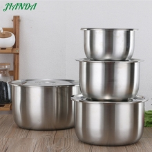 Salad Food Mixing Bowl SUS 304 Stainless Steel Large Soup Bowl with lid tableware useful kitchen cooking tool utensil