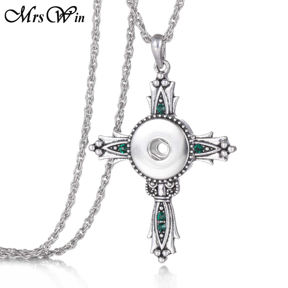Vintage Snap Jewelry High Quality Cross Snap Necklace For men Women Metal Pendant Cross Necklace fit 18mm snap