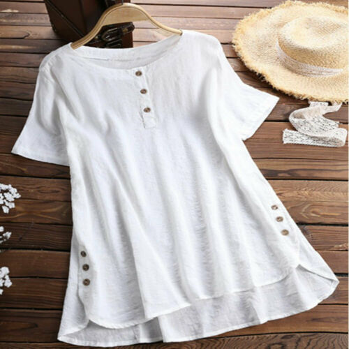 UK Womens Summer Short Sleeve Button IO Neck T Shirts Ladies Tunic Loose Tops Plus Size