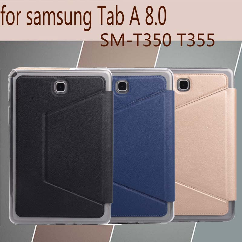 for Samsung Galaxy Tab A 8.0 SM-T350 SM-T355 Tablet Cover, Fashion Ultra thin Folio case, stand PU case+TPU Back cover+free gift del luxury ultra thin armor hard back case cover for samsung galaxy note 8 td905 dropship