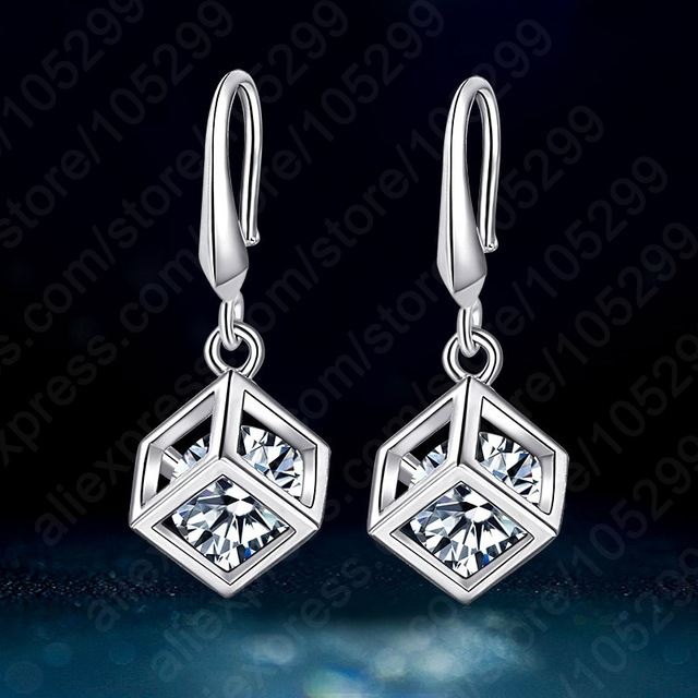Jemmin Big Promotion Shinning Cubic Zirconia Special Square 100% 925 Sterling Sliver Top Quality Drop Earrings Wedding JewelryJemmin Big Promotion Shinning Cubic Zirconia Special Square 100% 925 Sterling Sliver Top Quality Drop Earrings Wedding Jewelry
