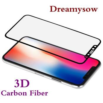 4c11f3f8bfd Vidrio templado de fibra de carbono curvado 3D para iphone 6 6 s 7 8 Plus  para iphone Xs Max XR XS X Protector de pantalla para iPhone 6 6 s 7 8