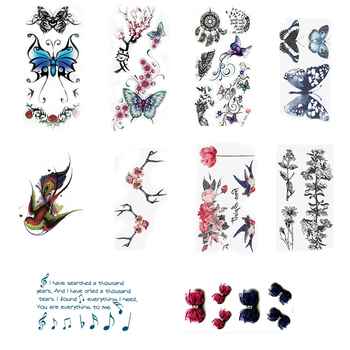 Sale 1PC 2019 New Bird butterfly Flower Temporary Women Men Tattoo Sticker Fashion Girls Body Art Waterproof Arm Sticker