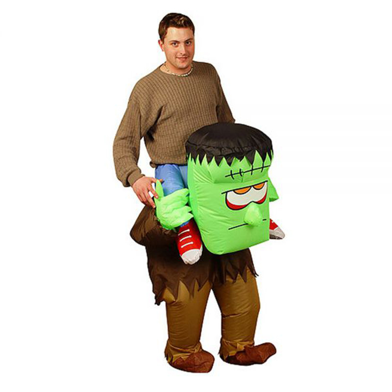 Adult Inflatable Frankenstein Monster Carrying You on Back Fancy Dress Horrible Outfits for Halloween Party Purim Stag Suits