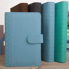 Nuevos cuadernos de piel sintética hueca Macaron, papelería, organizador de Agenda personal fino/carpeta diario planificador semanal Filofax A5 A6